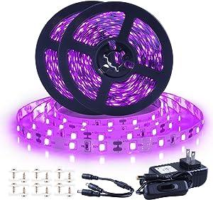 Ontesik Black Light Strip, 40ft/12m Flexible UV Black Light with LED kit, 720lamp Beads, 12V UV Black Light, Indoor Dance, Bedroom Decoration,Stage, Birthday, Wedding, Dark Party,not Waterproof
