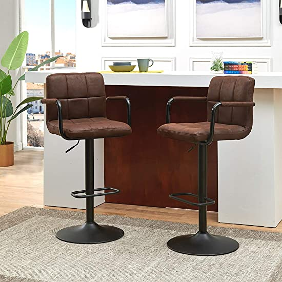 Duhome Elegant Lifestyle 2Pcs Bar Stools with Armrest Back Modern Tech Fabric Adjustable Hydraulic Swivel Barstools Square Counter Height Stool Dark Brown