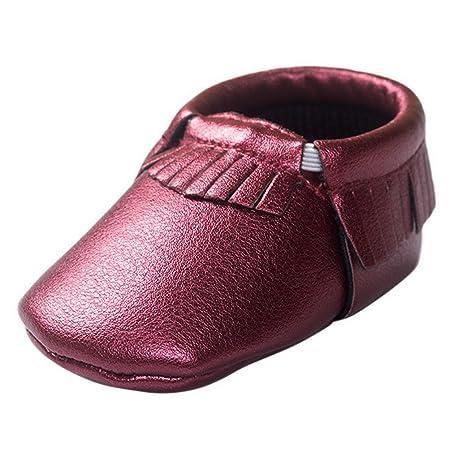 HAPPY CHERRY Suaves Zapatos Primeros Pasos Zapatitos sin Cordones Suela Antideslizante Mocasines para Bebés Niños Niñas