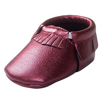HAPPY CHERRY Suaves Zapatos Primeros Pasos Zapatitos sin Cordones Suela Antideslizante Mocasines para Bebés Niños Niñas 0-6 Meses Color Vino Tinto: ...