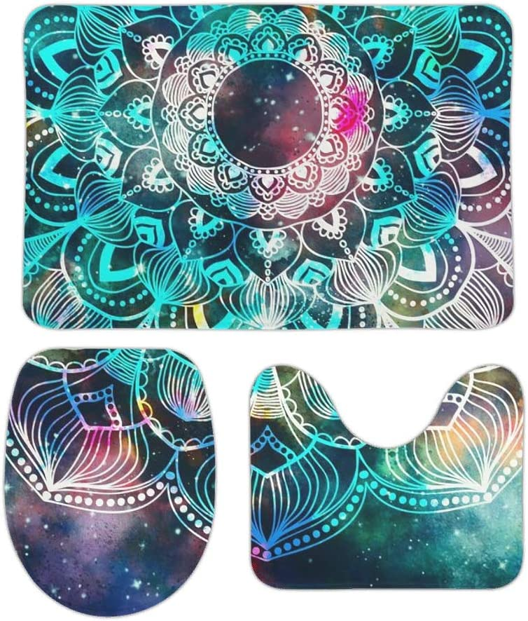 Luxurious for Christmas Decorate White 16x24 inch Funming 1 for 3 Bath Accessories Psychedelic Galaxy Mandala Square U-Shaped Cover//Bathroom Carpet//Contour Lid Toilet Cover Non Slip