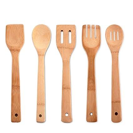 Compra Set de 5 utensilios de cocina de bambú - madera ecológica en ...