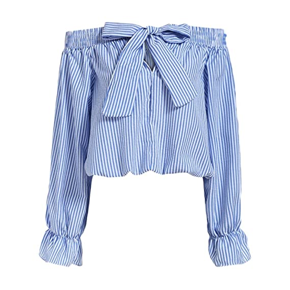 Mujer Camisetas Manga Larga Originales Moda Rayas Sin Hombro Lindo Chic Tops Primavera Elegantes Casual Dulce con Lazo Blusas T Shirt (Color : Azul, ...