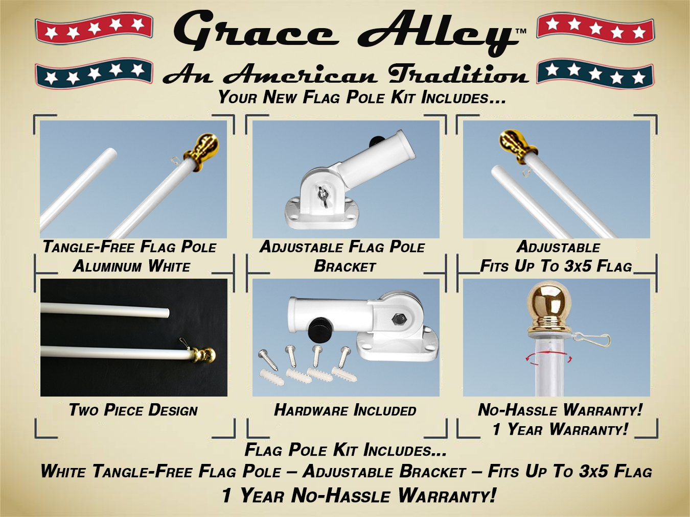 Flag Pole Kit: Outdoor Flag Pole Kit includes Tangle Free Spinning Flagpole and Flagpole bracket White by Grace Alley (Image #3)