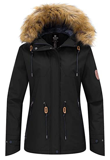 ff5002183b Wantdo Women s Anorak Windproof Fleece Ski Jacket Waterproof Mountain  Outerwear Rain Jacket Snow Jacket Black Medium