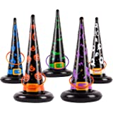 jumping meters 16PCS Halloween Toys Halloween Games Inflatable Witch Hat Ring Toss Game for Halloween Carnival Party…