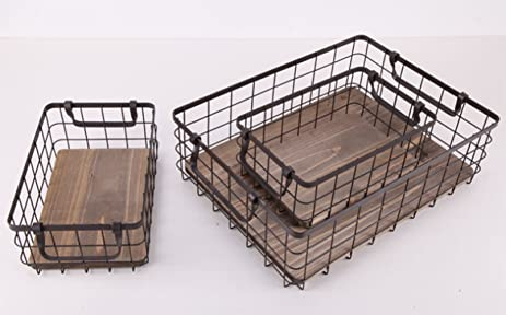 Metal Wire Storage Baskets With Natural Wood Bottom, Set Of 3 Nesting  Organizers With Handles
