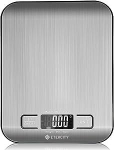 Balance de Cuisine Électronique 5 kg/1g en Acier INOX, Fonction Tare, Pesée du Lait, Affichage de la Batterie, Multifonction, Écran LCD Rétroéclairé, Piles Fournies, Argent, EK6015