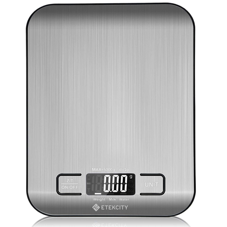 Báscula Digital para Cocina de Acero Inoxidable, 5kg / 11 lbs, Etekcity EK6015