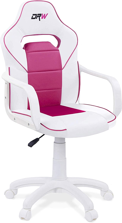 Adec - DRW, Silla de Escritorio Estudio o despacho, sillón Gaming Acabado en Color Blanco y Rosa, Medidas: 60 cm (Ancho) x 98-108 cm (Alto) x 60 cm (Fondo)