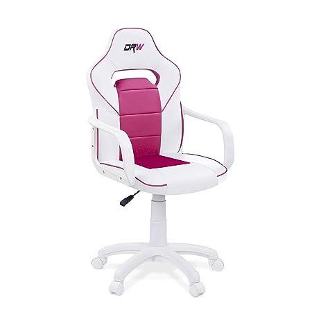 Adec - DRW, Silla de escritorio estudio o despacho, sillón gaming acabado en color Blanco y Rosa, medidas: 60 cm (ancho) x 98 - 108 cm (alto) x 45 cm ...