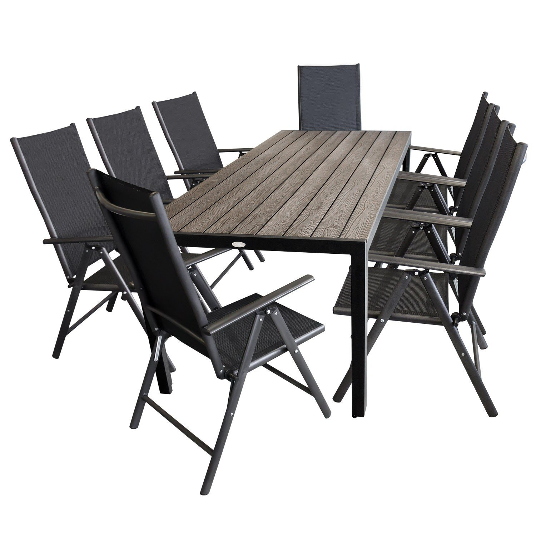 9tlg Gartengarnitur - Polywood Gartentisch 205x90cm + 8x Hochlehner mit 2x2 Textilenbespannung, 7-fach verstellbare Rückenlehne - Sitzgarnitur Gartenmöbel Terrassenmöbel Sitzgruppe