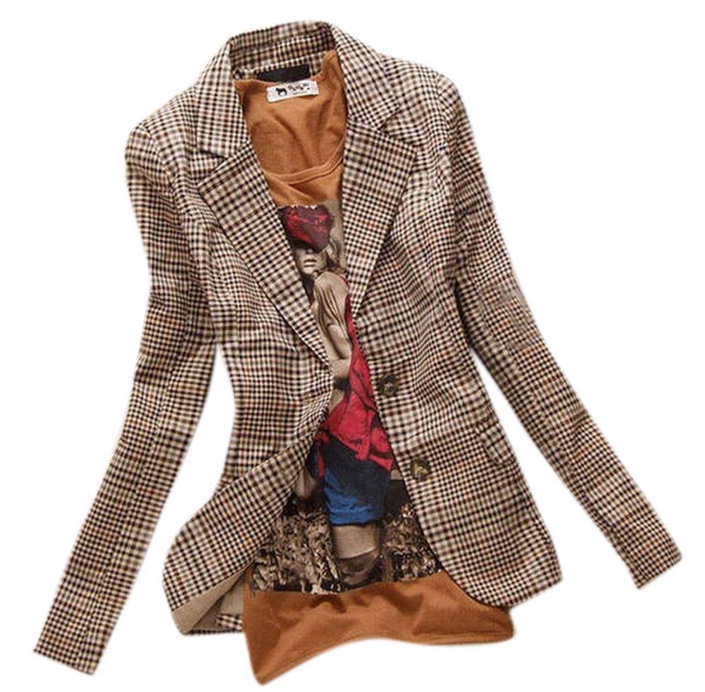 Allbebe Women's Boyfriend Classic Slim Petite Plaid Elbow Patch Jacket Blazer,Brown (M)