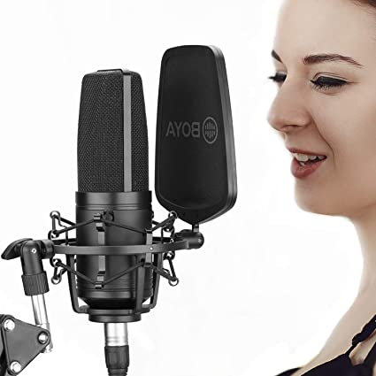 BOYA Large Diaphragm Cardioid Condenser Microphone Studio Sound Recording Microphone for Vocal Recording Singer Podcaster Home Audio YouTube Video