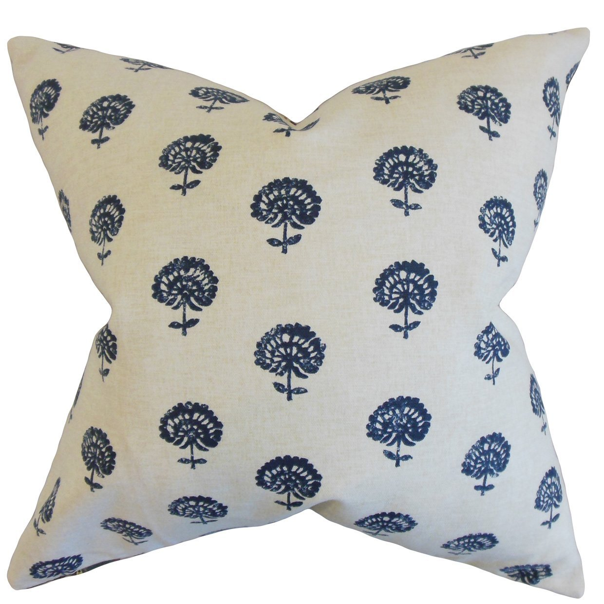 The Pillow Collection Londyn Floral Bedding Sham Indigo King//20 x 36