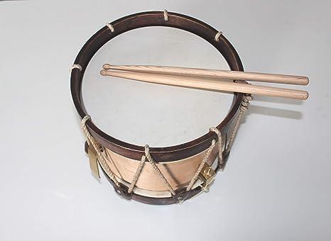 Tambor gallego de 25 centimetros de piel de cabra, baquetas incluidas.: Amazon.es: Instrumentos musicales