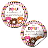 """Donut Know"" Teacher, Staff, or Employee Appreciation Thank You Sticker Labels, 40 2"" Party Circle Stickers by AmandaCreation, Great for Envelope Seals & Gift Bags"