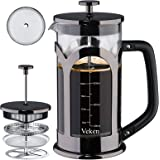 Veken French Press Coffee & Tea Maker, 304 Stainless Steel Heat Resistant Borosilicate Glass Coffee Press with 4 Filter Scree