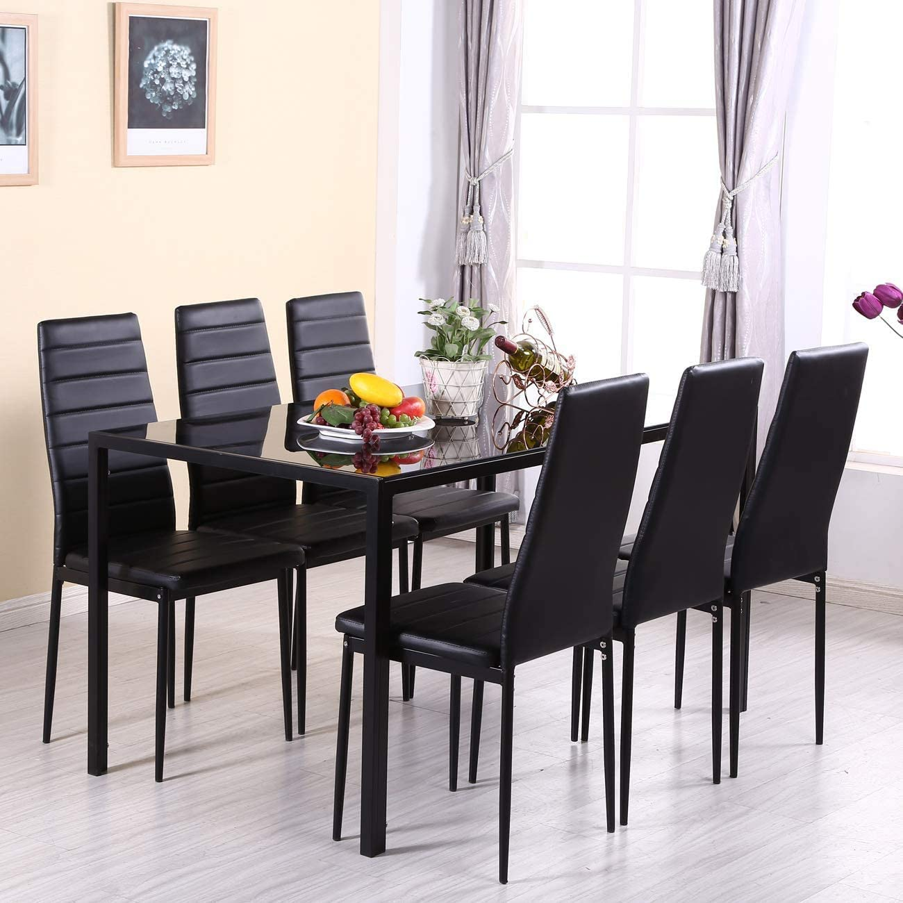 High Back Dining Chairs Set of 4, Velvet Padded Dining Room Chairs for Kitchen, Lounge, Living Room Side Chairs with Chrome Legs, Grey Black Table