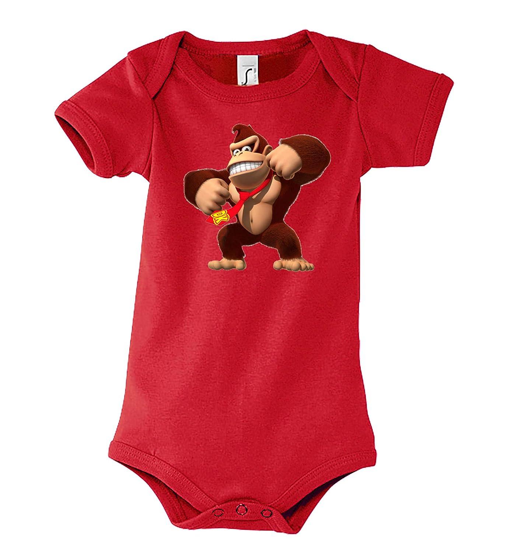 Baby Jungen & Mä dchen Kurzarm Body Strampler Modell Donkey Kong, Grö ß e 3-24 Monate in vielen Farben