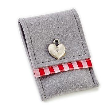 ESTA-Design Fieltro Cartera Tarjetas de Visita móvil 7 x 9 cm - Gris con Estampado Corazón: Amazon.es: Juguetes y juegos