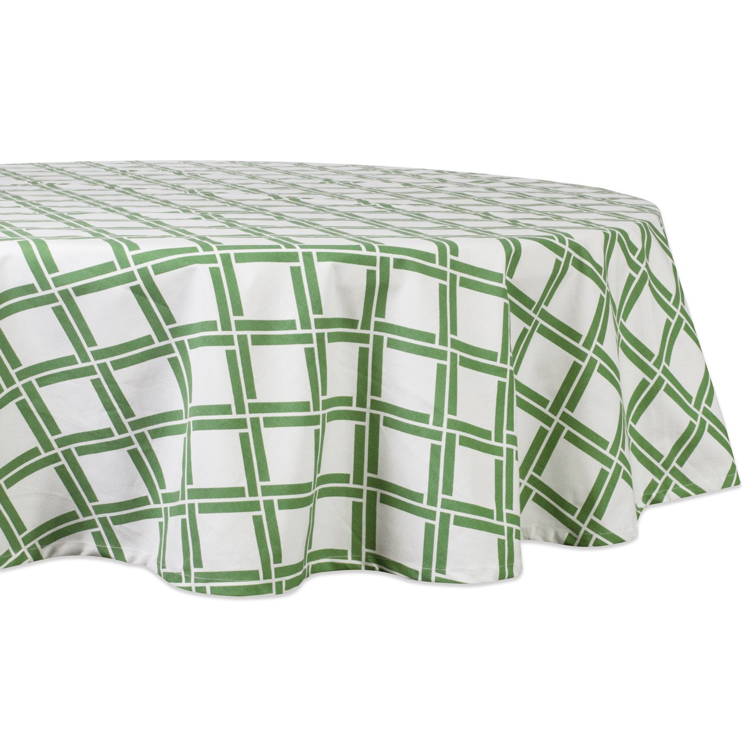 DII CAMZ37390 100% Cotton, Machine Washable, Printed Kitchen Tablecloth for Dinner Parties, Summer & Outdoor Picnics-70 Round, Seats 4-6 People, 14x72 Bamboo Lattice
