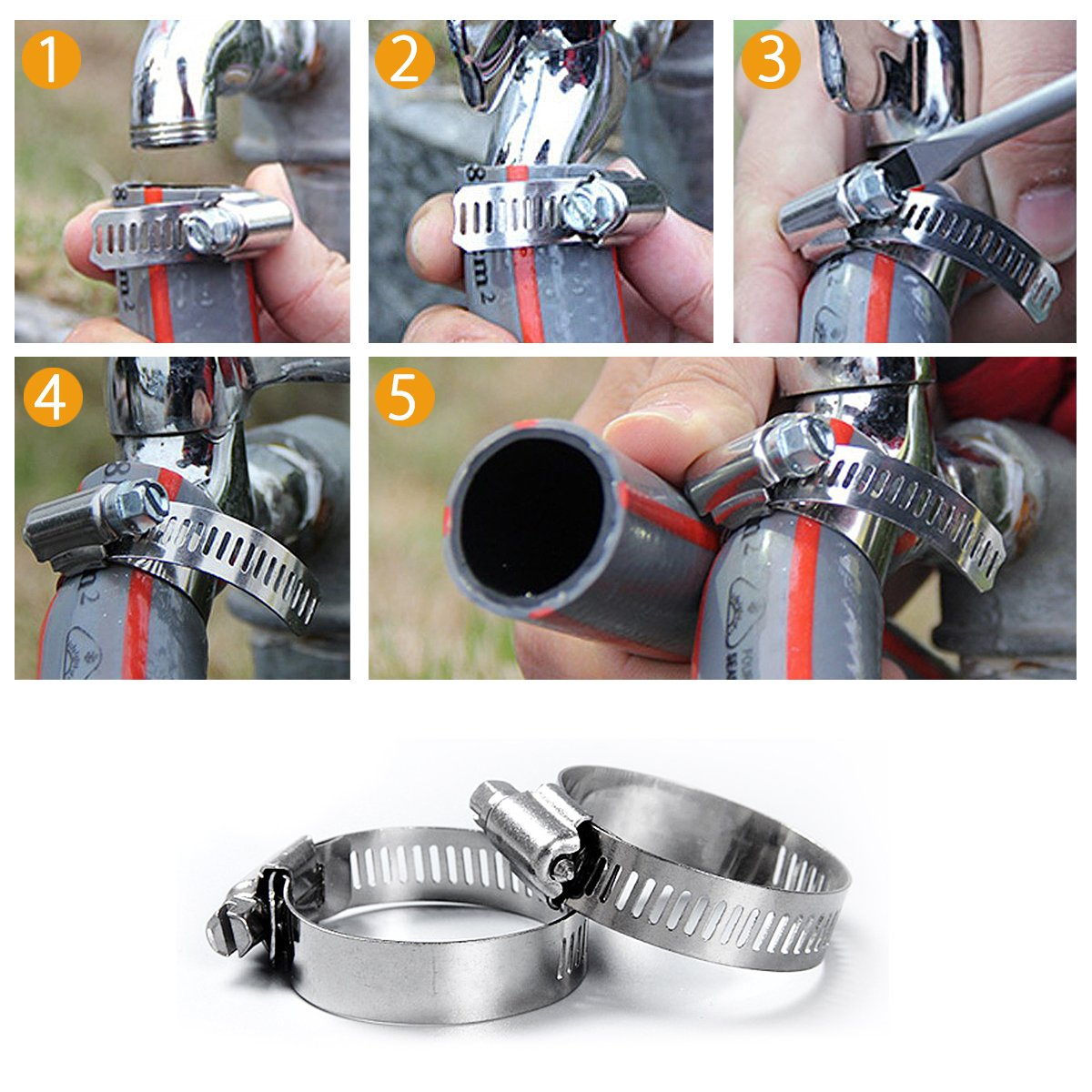 Metal Worm-Drive Gear Duct Clamps by Omont Stainless Steel Hose Clamp 1-1//16 to 2 Miniature Power-Seal 6 Piece