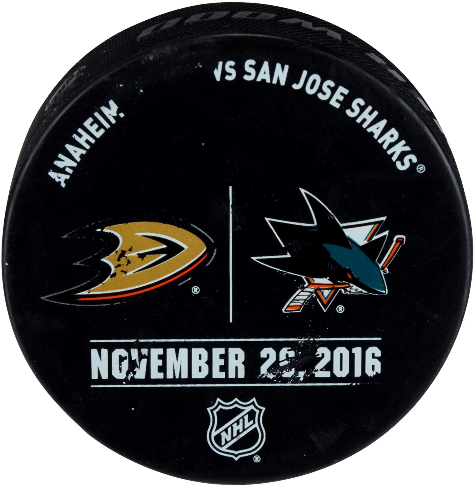 San Jose Sharks Warm up Used Puck vs. Anaheim Ducks on November 26, 2016 Fanatics Authentic Certified