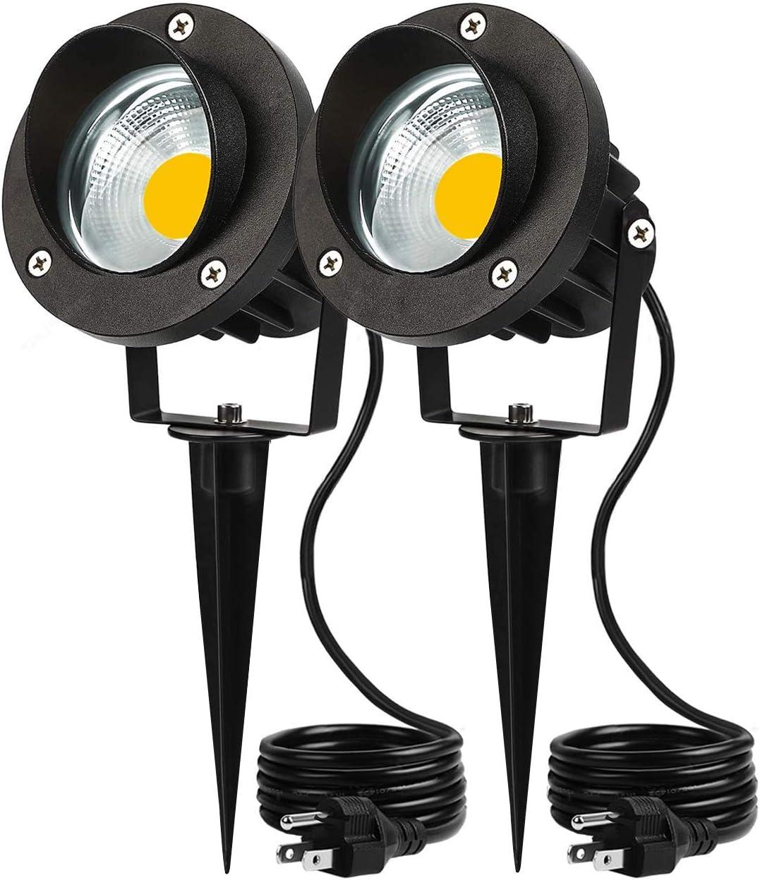 Outdoor LED Landscape Lights Spotlight 5W 120V AC Garden Light IP66 Waterproof for Yard,Trees,Flag,Lawn,Patio Outside Flood Lights 2 Pack