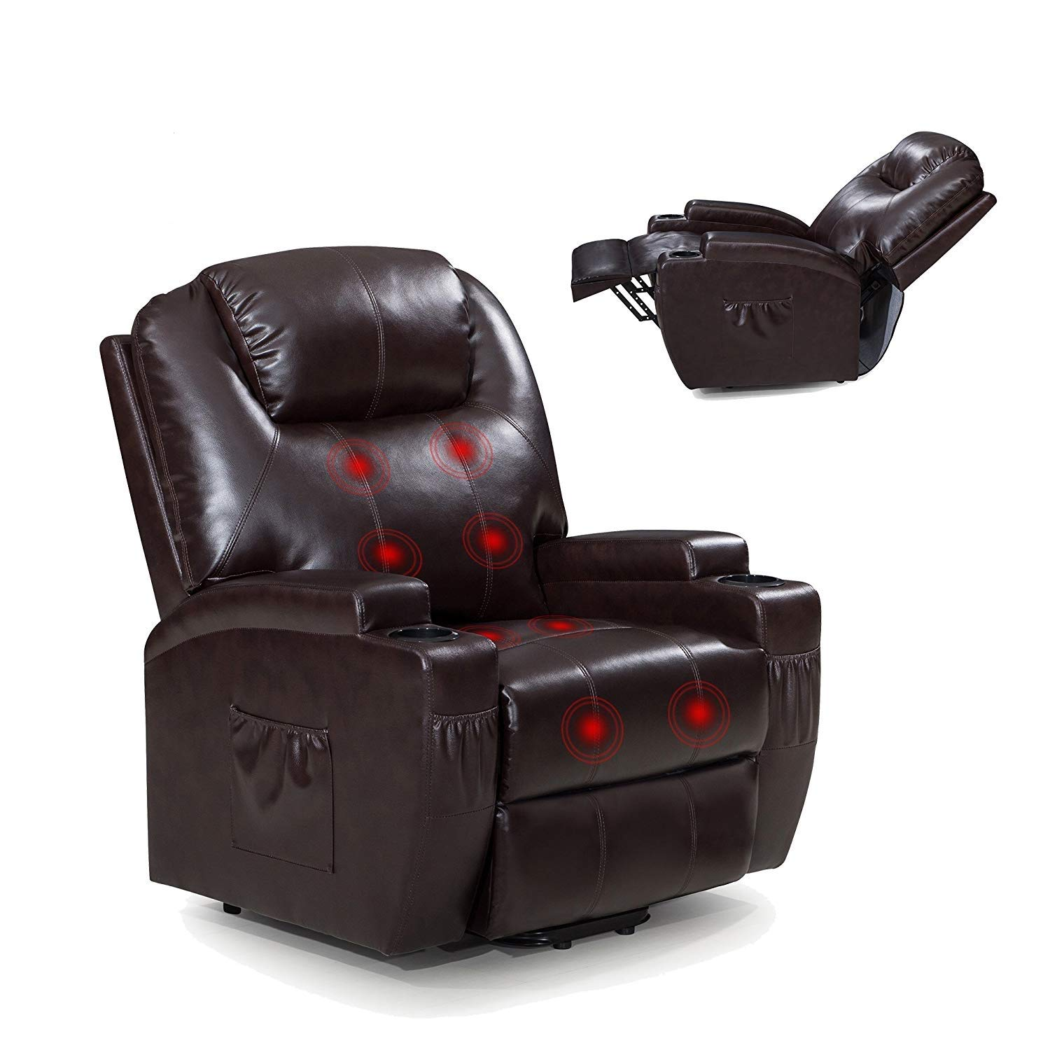 Power Lift Recliner Sofa Chair with Massage and Heating, Luxurious Bonded Leather Lounge Living Room Chair, Brown by windaze