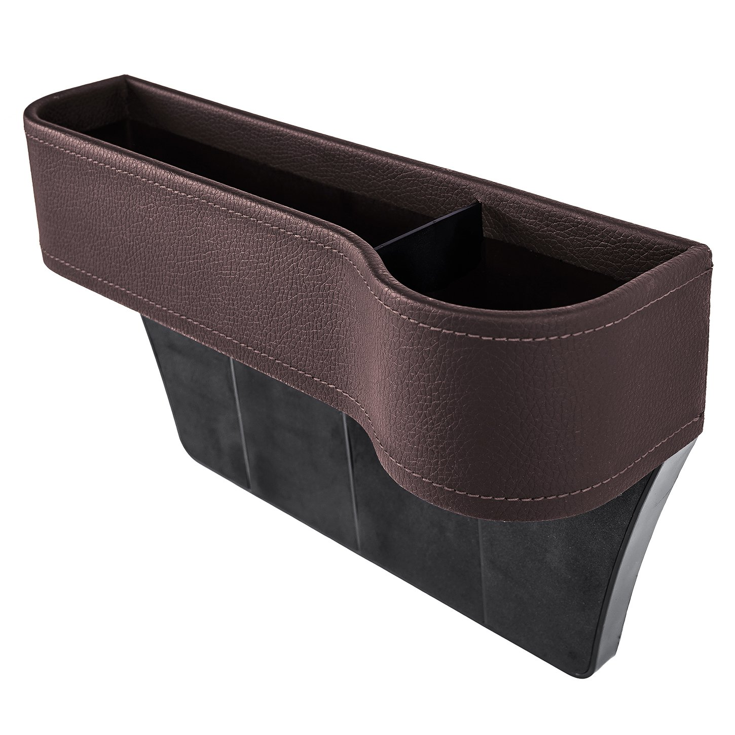 AV SUPPLY Car Side Seat Organizer w/ Cup Holder For Drinks Key Wallet Phone Sunglasses, Leather, Brown
