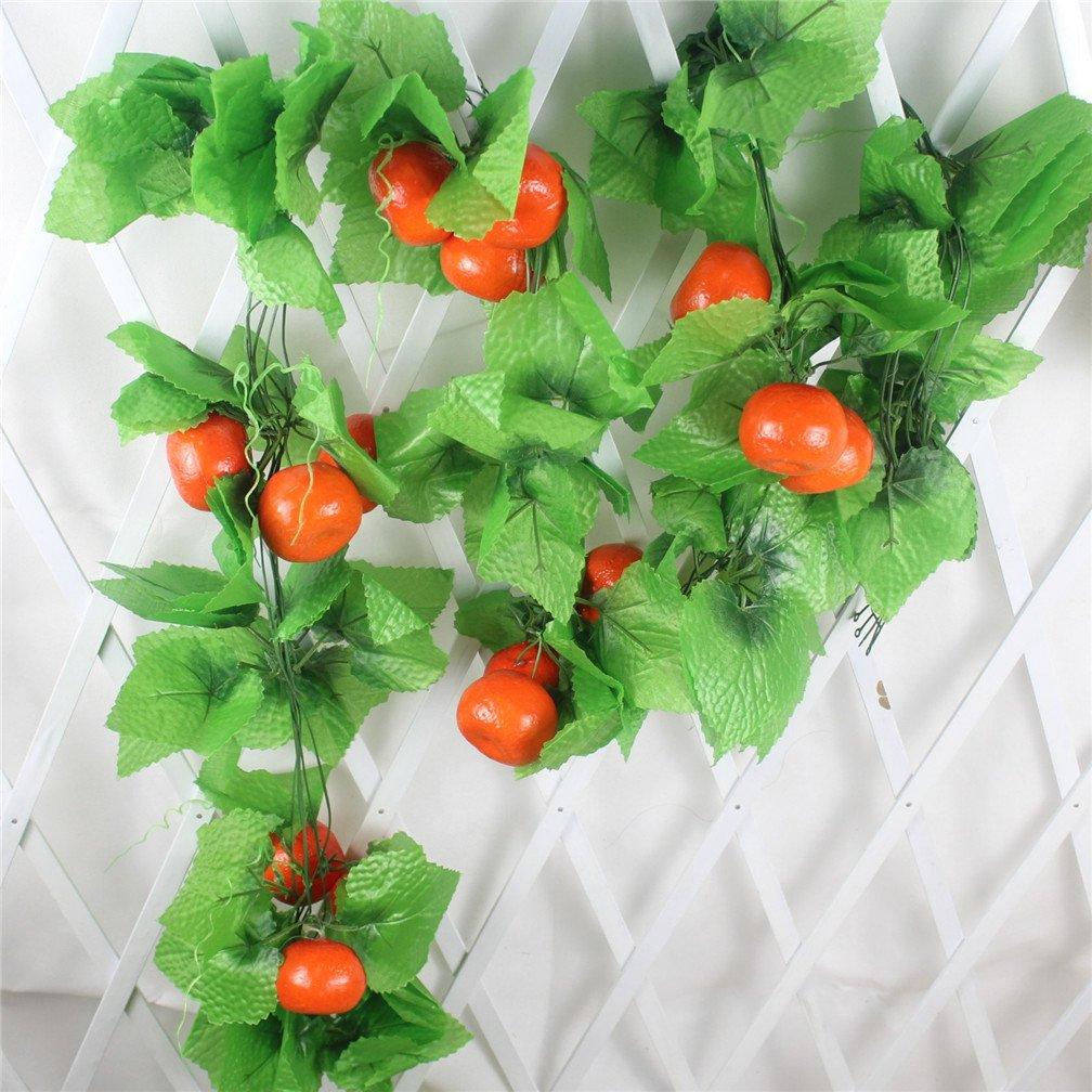 Mynse 5 Pieces Fake Fruit String Home Garden Fence Market Decoration Artficial Orange and Vines 95''