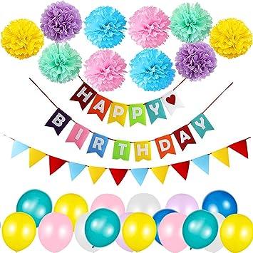 Decoración Cumpleaños, Banderines de Happy Birthday con 10 Piezas Pom Poms Bola de la Flor, 30 Piezas Globos de Fiesta y 1 Banderas Multicolores, ...