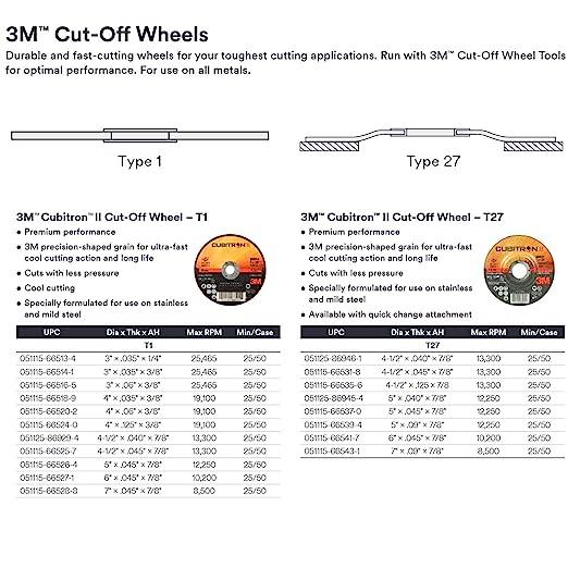 3M 7100094853 Cubitron II Disco de corte, 60 +, tipo 41, 76 mm, 1,0 mm, 6,35 mm (25 unidades)