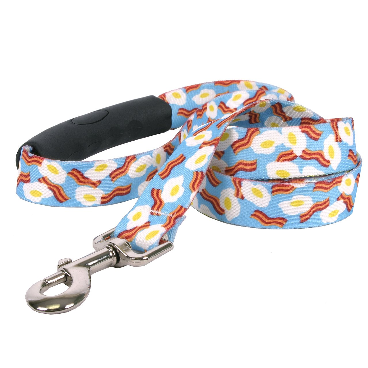 Yellow Dog Design Bacon and Eggs Ez-Grip Dog Leash with Comfort Handle 1'' Wide and 5' (60'') Long, Large