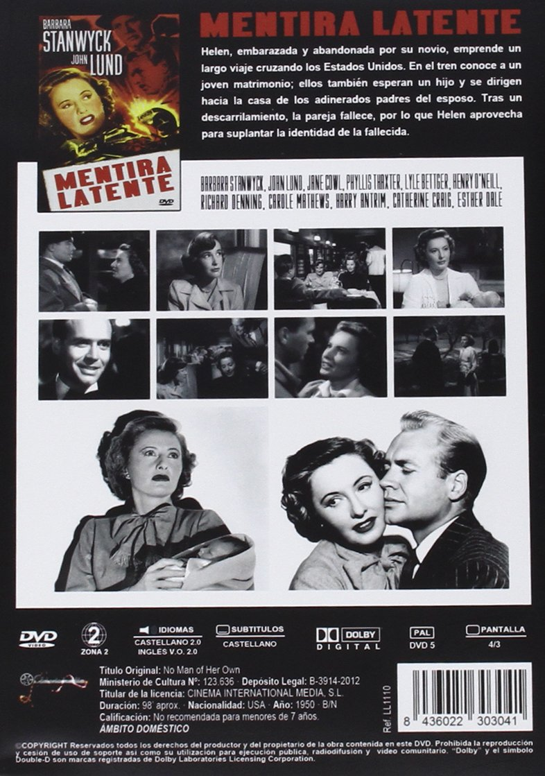 Mentira Latente [DVD]: Amazon.es: Barbara Stanwyck, John Lund, Jane Cowl, Phyllis Thaxter, Lyle Bettger, Henry OŽNeill, Mitchell Leisen, Richard Maibaum: ...