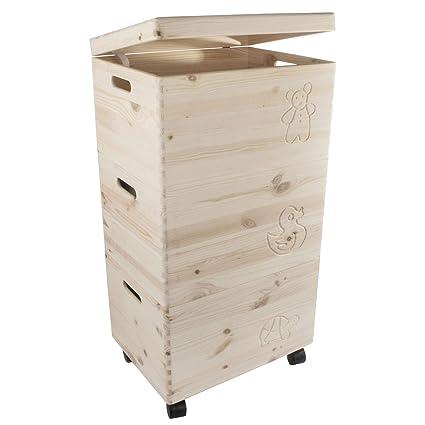 Search Box Cajas de Almacenamiento de Juguetes de Madera sin Pintar con Tapa, Juego de