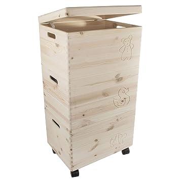 Search Box Cajas de Almacenamiento de Juguetes de Madera sin Pintar con Tapa, Juego de 3 baúles apilables en Ruedas, para Manualidades y decoración: ...