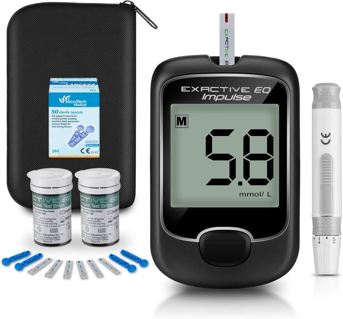 Medidor de glucosa en sangre, kit de prueba de glucosa en sangre con codefree tiras de prueba de glucosa en sangre x 50 y dispositivo de punción por Exactive EQ Impulse - mg/dL
