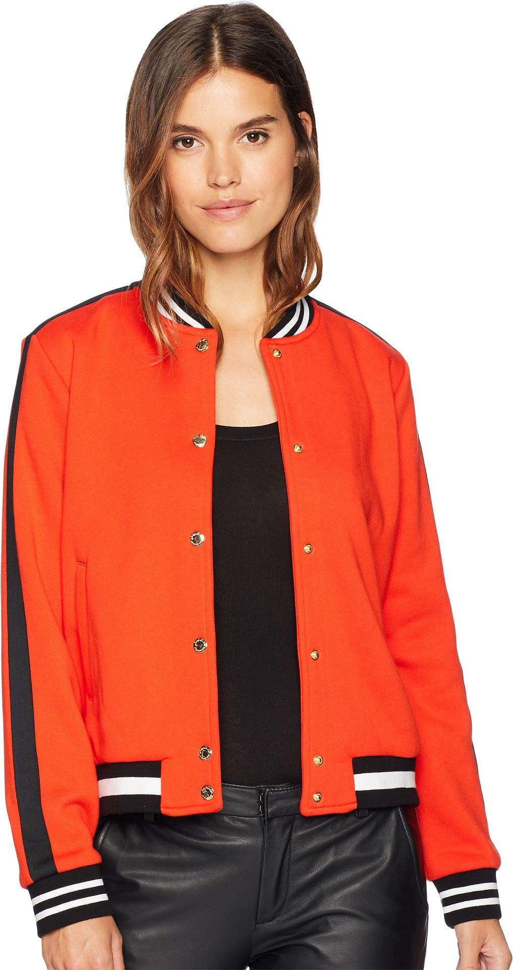 Juicy Couture Women's Luxe Tiger Patch Terry Bomber Jacket Lava Red Medium