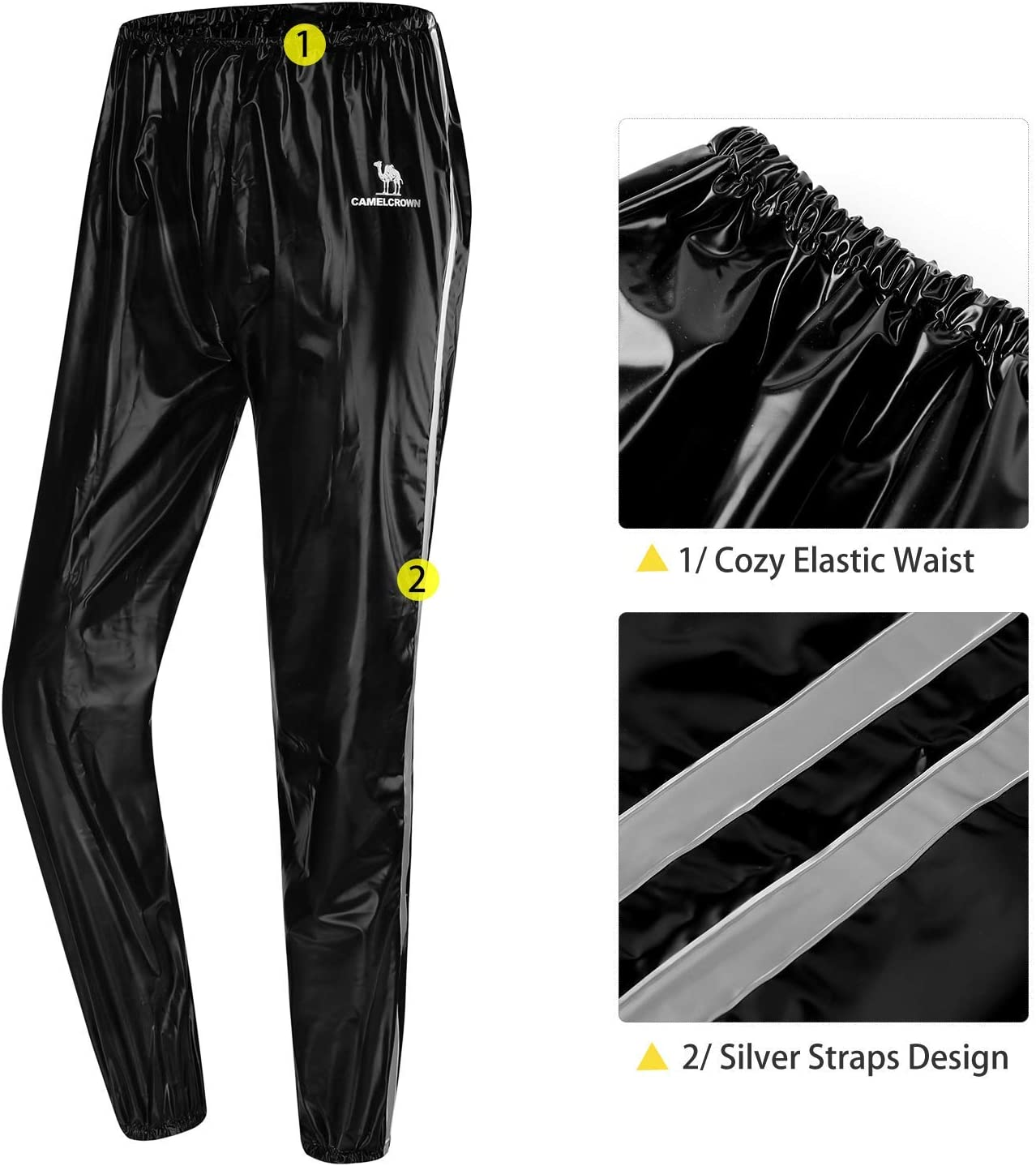 CAMEL CROWN Men/'s Sweat Suit Fitness Sauna Suit Weight Loss Jacket Slimming Shirts Fat Burner Pants Waist Trainer Track Vest