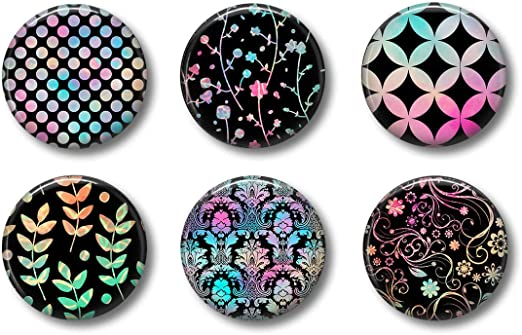 For Whiteboard Office or Fridge Gift Set Cute Locker Magnets For Teens Black Colorful Set of Six 1.75 Black Pink and Turquoise