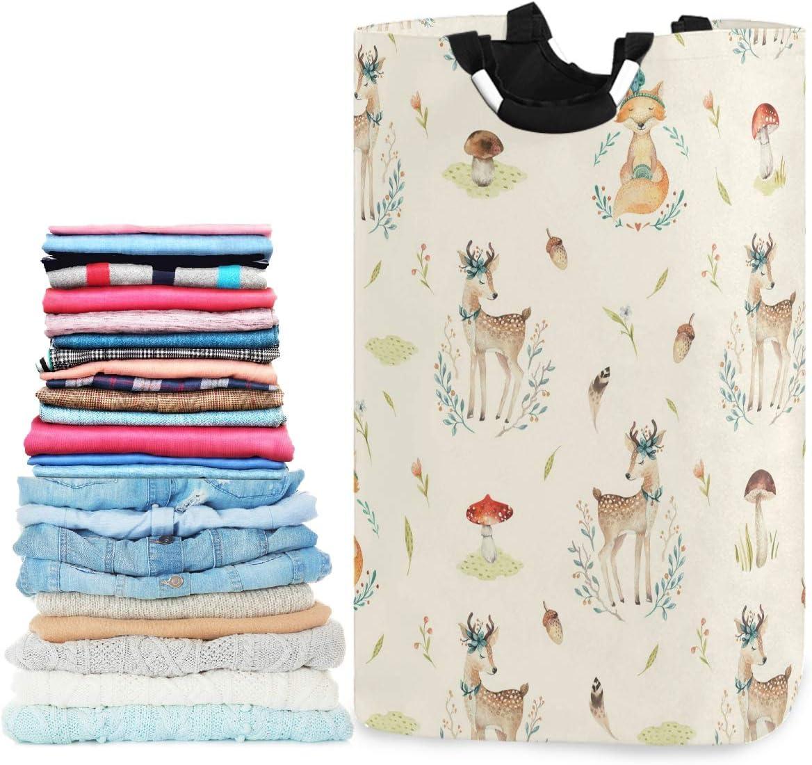 visesunny Cute Baby Foxes and Deer Animal Large Capacity Laundry Hamper Basket Water-Resistant Oxford Cloth Storage Baskets for Bedroom, Bathroom, Dorm, Kids Room