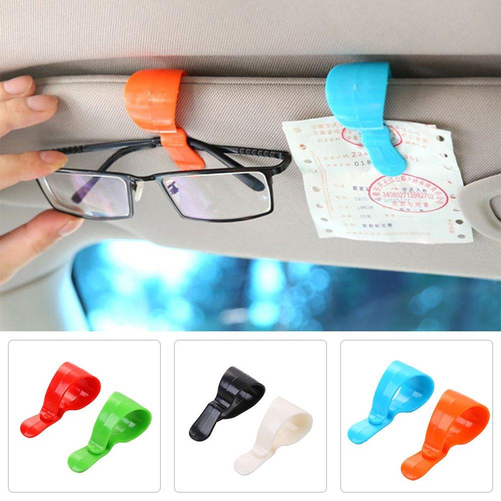 CALISTOUK 4Pcs Multi-purpose Car Vehicle Visor Accessories Sunglasses Glasses Card Pen Holder Ticket Clip Universal