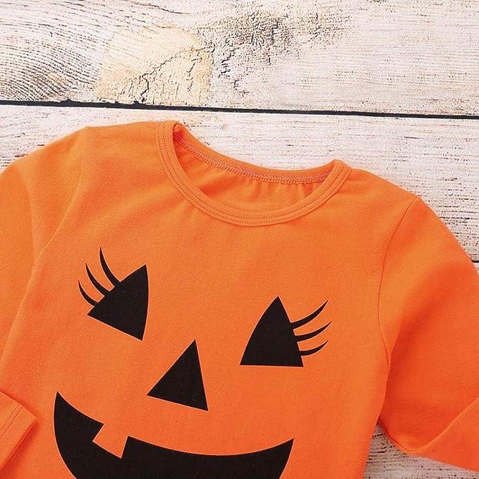 6 Meses - 5 A/ños Vestido Infantil de Tul de Halloween para Ni/ña Mangas Cortas con Pajarita en Tama/ño de Tema de Calabaza