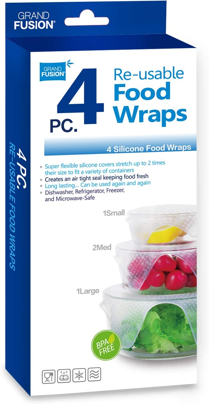Grand Fusion™ Silicone Food Wrap 4 pk, Reusable Super Flexible, Stretchable Wraps
