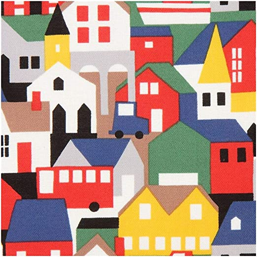 Tela de algodón negra de tejido en rejilla con casas de colores ...