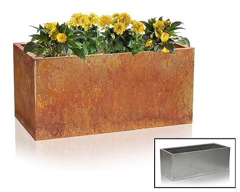 Blumenkasten aus Cortenstahl – H: 40cm x B: 100cm x T: 40cm ...