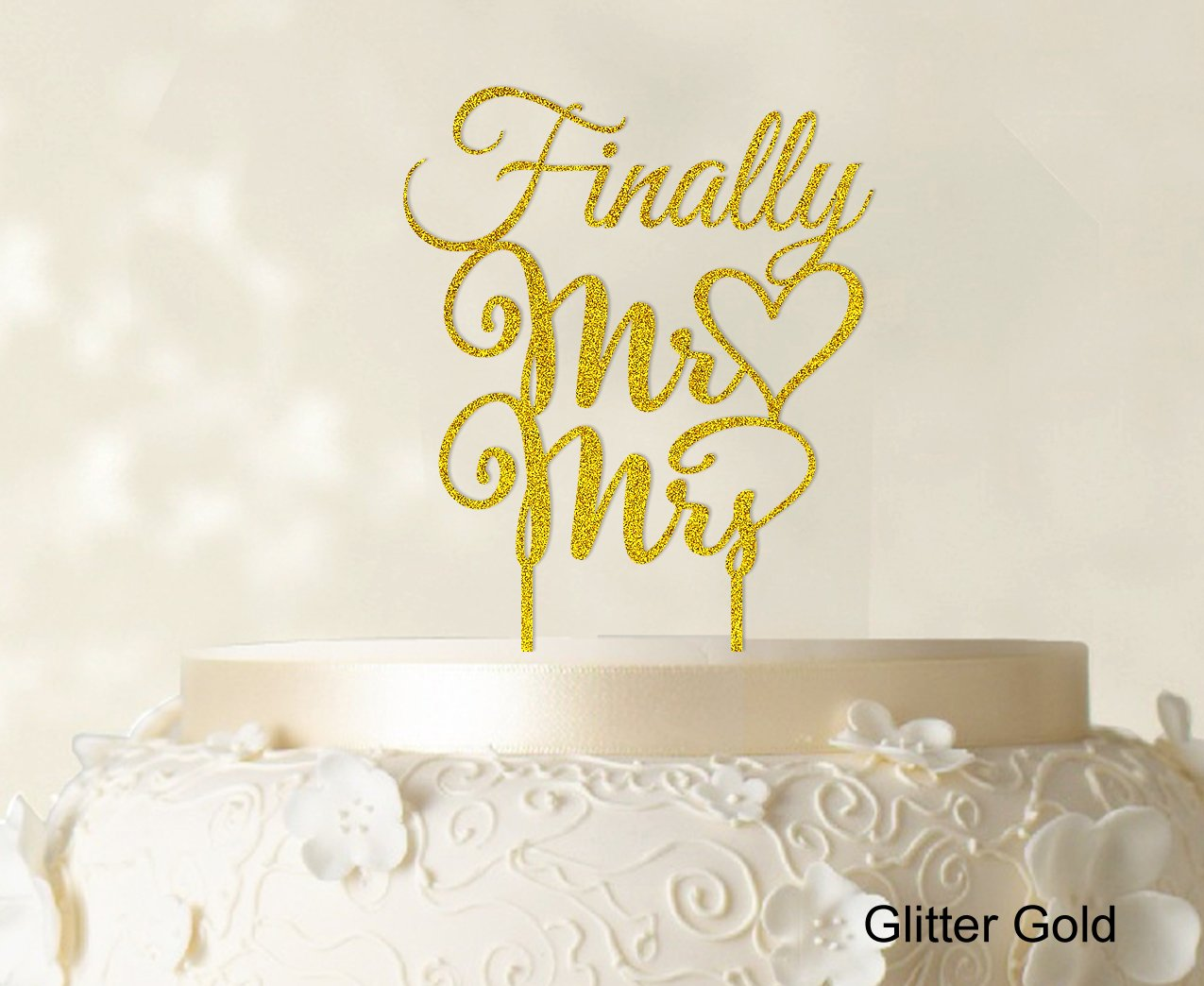 ''Finally Mr And Mrs'' Wedding Cake Topper Personalized Custom Name Cake Toppers Color Option Available 5''-7'' Inches Wide