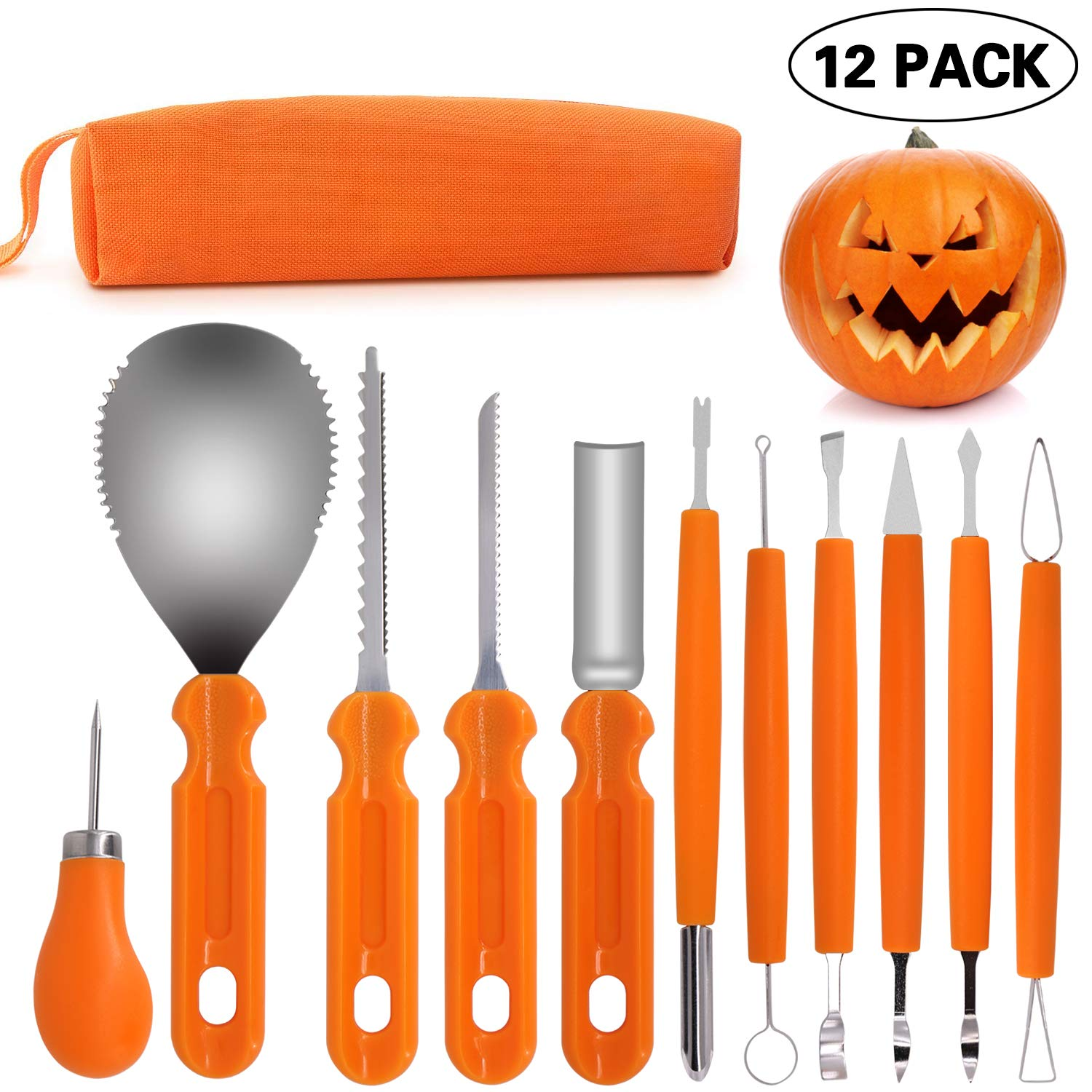 Pumpkin Carving Tool 12PCS - Heavy Duty Stainless Steel Pumpkin Cutting Tools Set for Halloween Decorations Jack-O-Lanterns with Carrying Bag by drclean